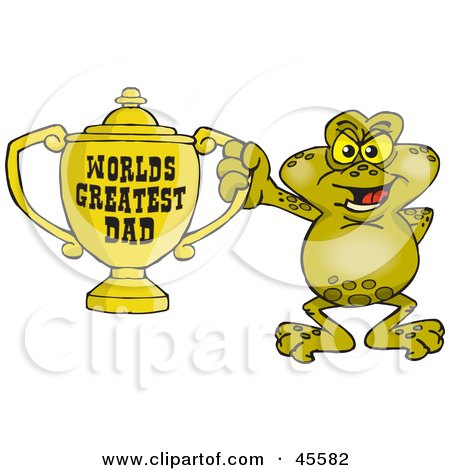 Royalty-free (RF) Clipart Illustration of a Toad Character Holding A Golden Worlds Greatest Dad Trophy by Dennis Holmes Designs