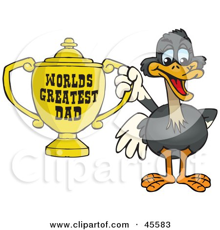 Ostrich Bird Character Holding A Golden Worlds Greatest Dad Trophy Posters, Art Prints