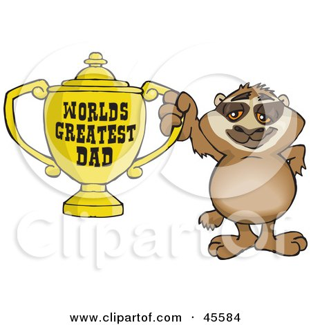 Royalty-free (RF) Clipart Illustration of a Sloth Character Holding A Golden Worlds Greatest Dad Trophy by Dennis Holmes Designs