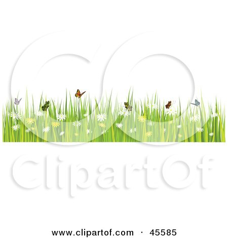 Royalty-Free (RF) Clipart Illustration of a Border Of Butterflies With Grass And Spring Flowers On White by KJ Pargeter