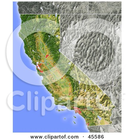 Royalty-free (RF) Clipart Illustration of a Shaded Relief Map Of The State Of California by Michael Schmeling