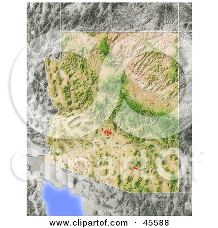 Royalty-free (RF) Clipart Illustration of a Shaded Relief Map Of The State Of Arizona by Michael Schmeling