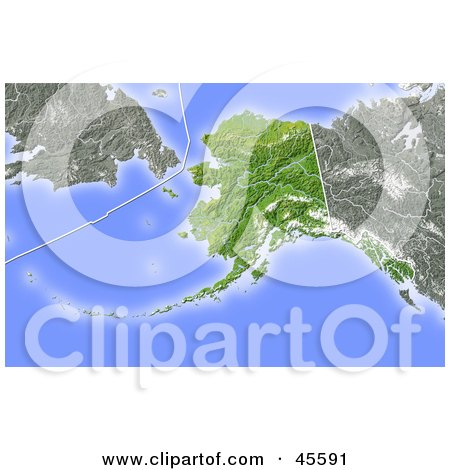 Royalty-free (RF) Clipart Illustration of a Shaded Relief Map Of The State Of Alaska by Michael Schmeling