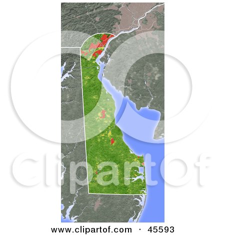 Royalty-free (RF) Clipart Illustration of a Shaded Relief Map Of The State Of Delaware by Michael Schmeling