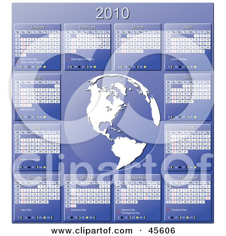 Royalty-free (RF) Clipart Illustration of a Blue And White 2010 Yearly Calendar With A Globe by Michael Schmeling