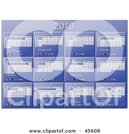 Royalty-free (RF) Clipart Illustration of a Horizontal Blue 2010 Yearly Calendar With Week Days Starting On Sunday by Michael Schmeling