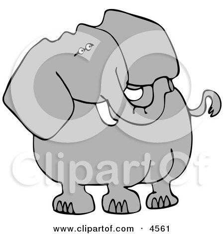 Alert Elephant Looking Over His Shoulder for Poachers Clipart by djart
