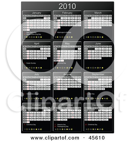 Royalty-free (RF) Clipart Illustration of a Vertical Black And White 2010 Yearly Calendar by Michael Schmeling