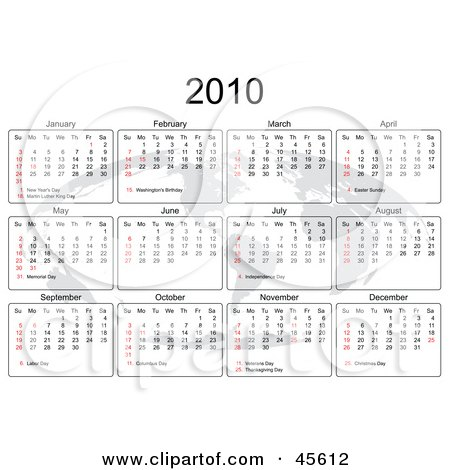 Royalty-free (RF) Clipart Illustration of a 2010 Yearly Calendar With A Faded Atlas On White by Michael Schmeling