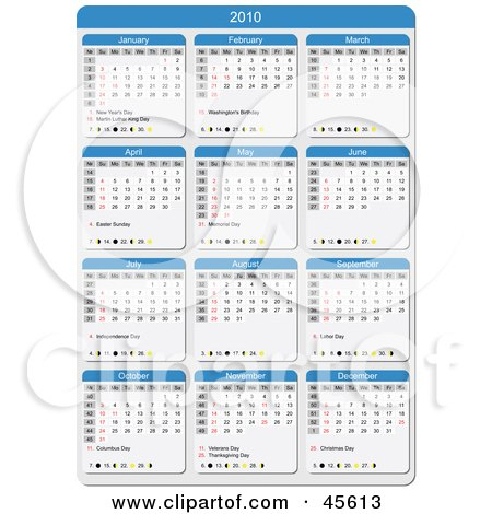 Royalty-free (RF) Clipart Illustration of a Blue And White 2010 Yearly Calendar With The Week Days Starting On Sunday by Michael Schmeling