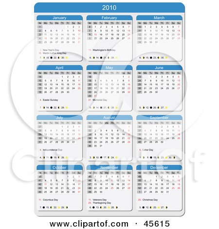 Royalty-free (RF) Clipart Illustration of a Blue And White 2010 Yearly Calendar With The Week Days Starting On Monday by Michael Schmeling