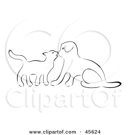Royalty-free (RF) Clipart Illustration of a Black And White Sketch Outline Of A Kitten Kissing A Puppy On The Nose by Michael Schmeling