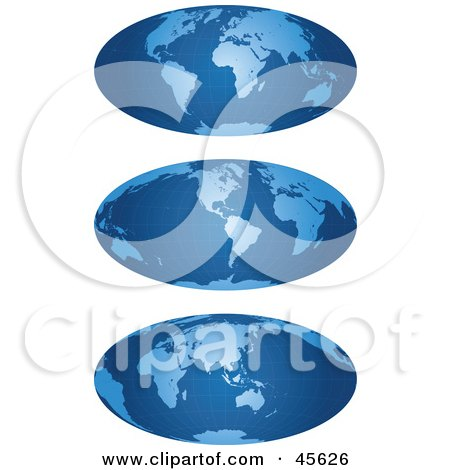Royalty-free (RF) Clipart Illustration of a Digital Collage Of Three Blue Grid Hammer Projection Maps by Michael Schmeling