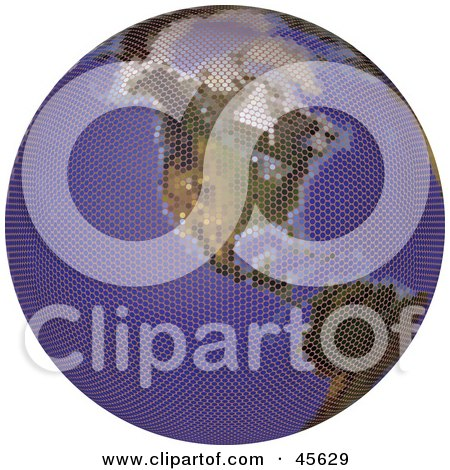 Royalty-free (RF) Clipart Illustration of a Textured Globe Featuring America by Michael Schmeling
