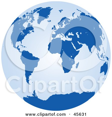 Royalty-free (RF) Clipart Illustration of a Light and Dark Blue Globe by Michael Schmeling