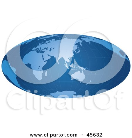 Royalty-free (RF) Clipart Illustration of a Blue Hammer Projection Map With a Grid by Michael Schmeling
