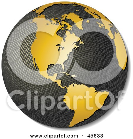 Royalty-free (RF) Clipart Illustration of a 3d Textured Globe With Golden Continents, Featuring America by Michael Schmeling
