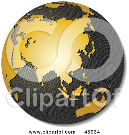 Royalty-free (RF) Clipart Illustration of a 3d Textured Globe With Golden Continents, Featuring Asia by Michael Schmeling