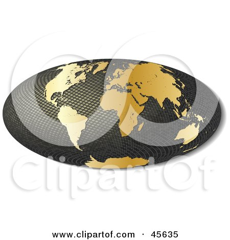 Royalty-free (RF) Clipart Illustration of a 3d Textured Hammer Projection Globe Featuring Golden Continents by Michael Schmeling
