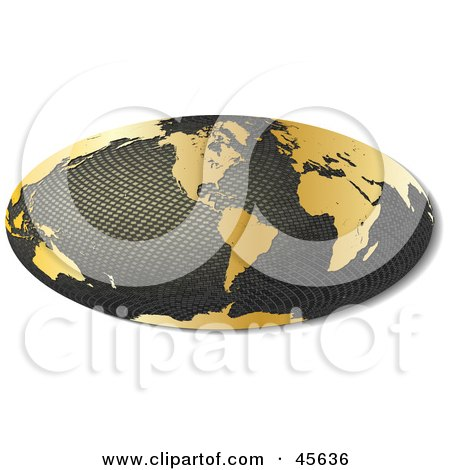 Royalty-free (RF) Clipart Illustration of a 3d Textured Hammer Projection Globe Featuring America by Michael Schmeling