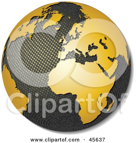 Royalty-free (RF) Clipart Illustration of a 3d Textured Globe With Golden Continents, Featuring Africa by Michael Schmeling
