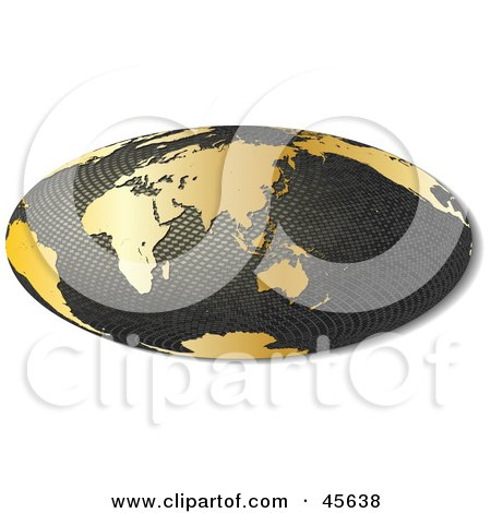 Royalty-free (RF) Clipart Illustration of a 3d Textured Hammer Projection Globe Featuring Asia by Michael Schmeling