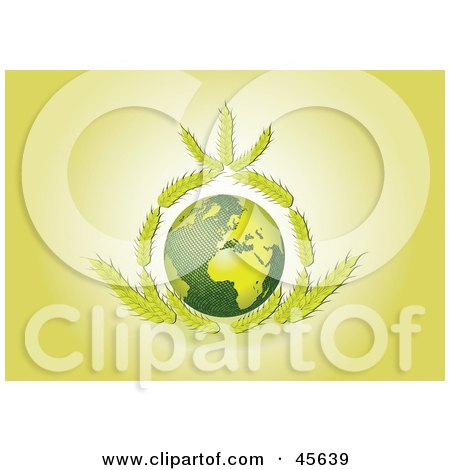 Royalty-free (RF) Clipart Illustration of Wheat Framing The Green Earth On A Yellow Background by Michael Schmeling