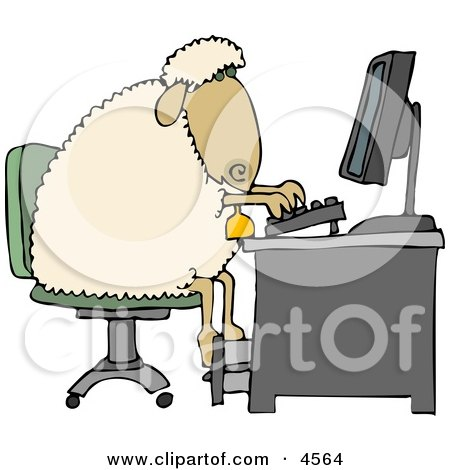 Anthropomorphic Anthropomorphic Sheep Typing On a Computer Keyboard Clipart by Dennis Cox