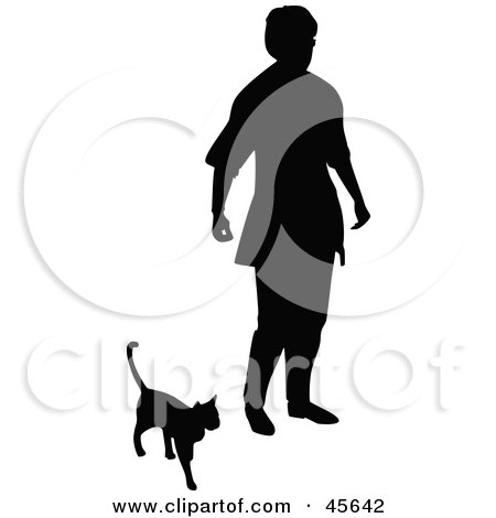 Royalty-free (RF) Clipart Illustration of a Silhouetted Senior Woman Walking With Her Cat by Michael Schmeling