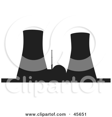 Royalty-free (RF) Clipart Illustration of a Black Silhouetted Nuclear Power Facility With Cooling Towers by Michael Schmeling