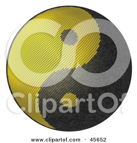 3d Textured Yellow And Blank Yin Yang Symbol Posters, Art Prints