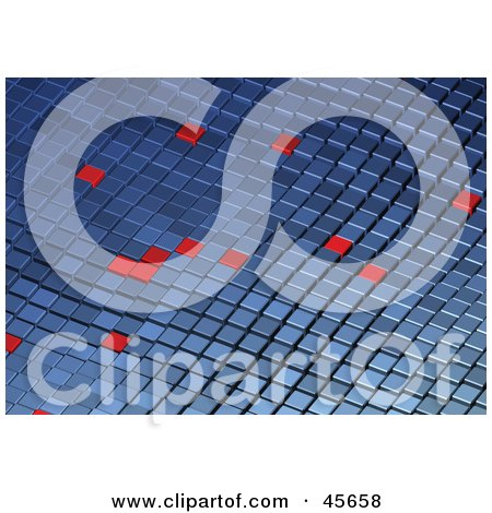 Royalty-free (RF) Clipart Illustration of Random Red Squares on a Wavy Blue Tile Background by Michael Schmeling