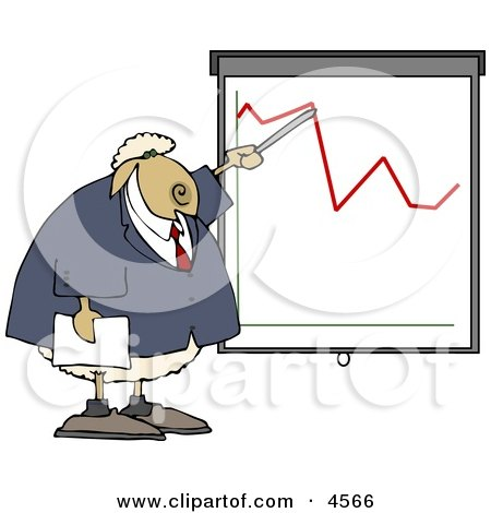 Sheep Business Person Pointing at a Graph Which Demonstrates a Drop Posters, Art Prints