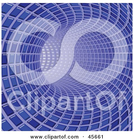 Royalty-free (RF) Clipart Illustration of a Curving Blue Tunnel Made Of Tiles, Leading Off Into Light by Michael Schmeling