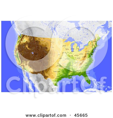Royalty-free (RF) Clipart Illustration of a Shaded Contour Map Of The United States And Surrounding Oceans by Michael Schmeling