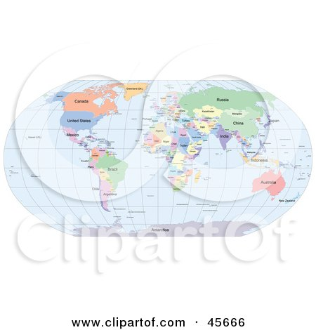 Royalty-free (RF) Clipart Illustration of a Political World Map Showing Different Colored Countries And Continents And Blue Seas by Michael Schmeling