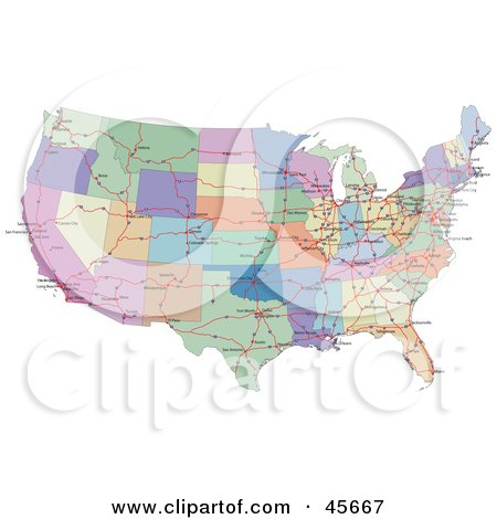 Royalty-free (RF) Clipart Illustration of a Colorful Road Map Showing The Connecting Highways And Continental States Of The USA by Michael Schmeling