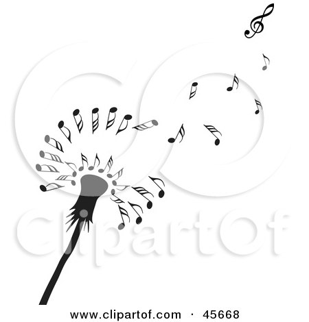 Royalty-free (RF) Clipart Illustration of a Black Dandelion Seedhead With Music Notes Floating Off In The Wind by Michael Schmeling
