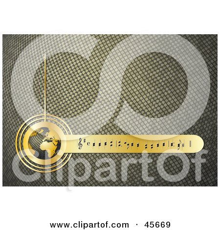 Royalty-free (RF) Clipart Illustration of a Textured Golden Music Background With Notes And A Globe by Michael Schmeling