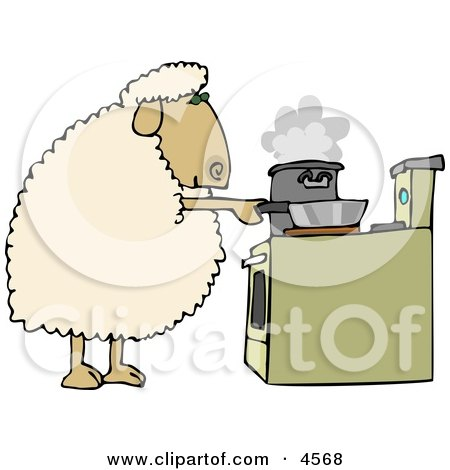 Anthropomorphic Sheep Cooking Food in Pots On a Stove Clipart by djart