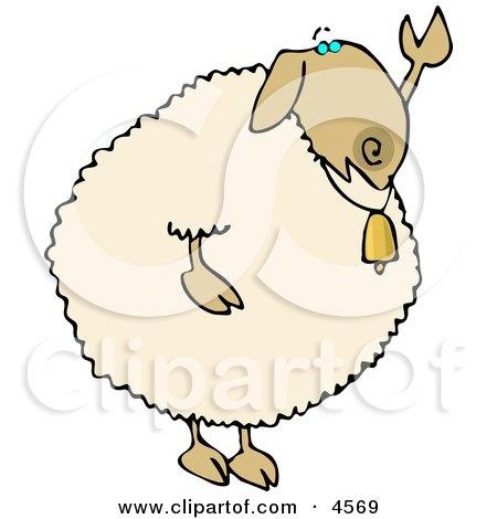 Anthropomorphic Sheep Waving Hand Goodbye or Hello Clipart by djart