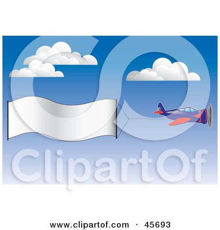 Royalty-free (RF) Clipart Illustration of a Publicity Plane Flying A Blank Banner Through The Sky by pauloribau