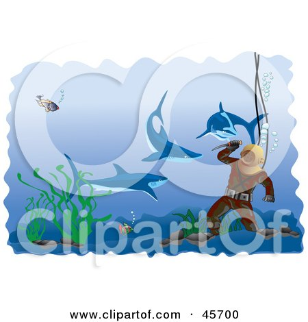 Royalty-free (RF) Clipart Illustration of Sharks Swimming Around A Diver Prepared With A Knife by pauloribau