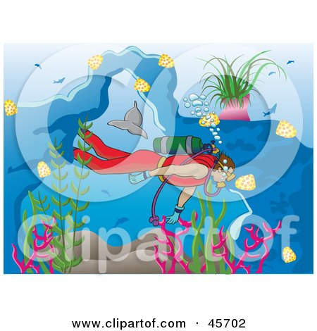 Royalty-free (RF) Clipart Illustration of a Diver Swimming Near Fish And Dolphins In The Sea by pauloribau