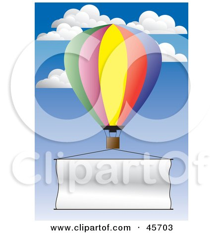 Royalty-free (RF) Clipart Illustration of a Publicity Hot Air Balloon Flying A Blank Banner Through The Sky by pauloribau