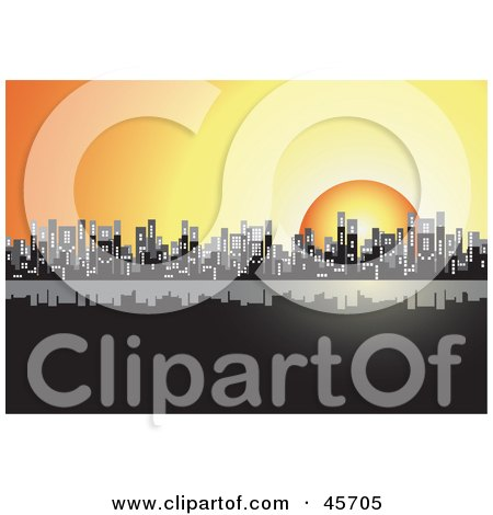 Orange Sun Setting Behind A City Skyline Posters, Art Prints