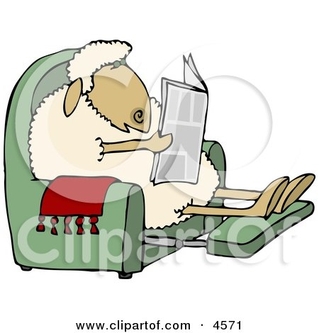 Anthropomorphic Sheep Reading a Newspaper in a Recliner Clipart by djart