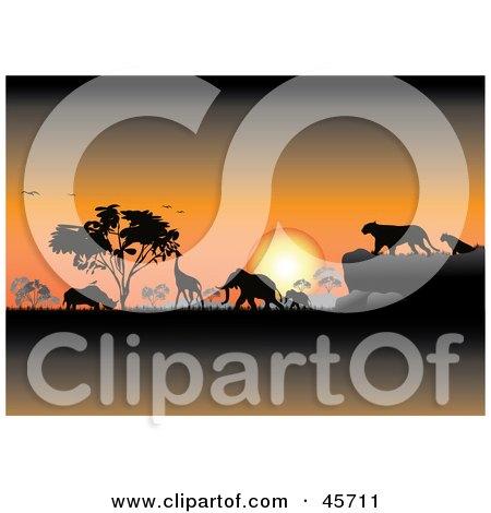 Royalty-free (RF) Clipart Illustration of an Orange Safari Sunset Silhouetting Animals And Trees by pauloribau