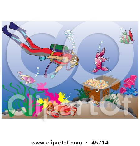 Royalty-free (RF) Clipart Illustration of a Diver Swimming Towards A Sunken Treasure Chest In The Sea by pauloribau