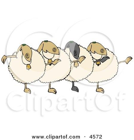 Dancing Anthropomorphic Sheep Chorus Clipart by djart